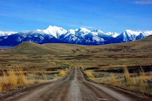 Montana met de Rocky Mountains op de achtergrond.