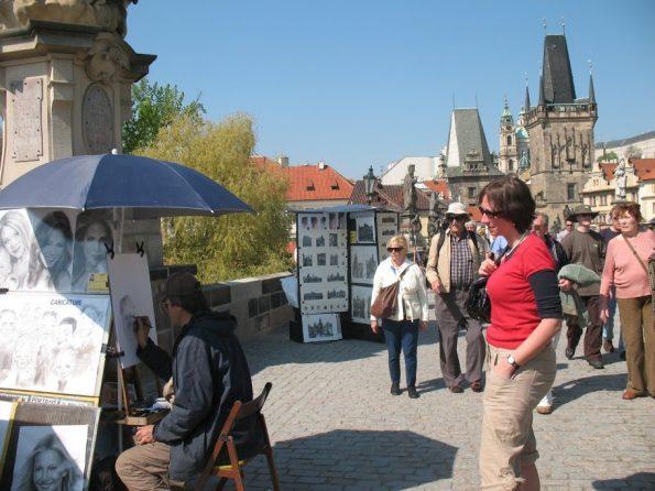 Artiesten op de Karelsbrug