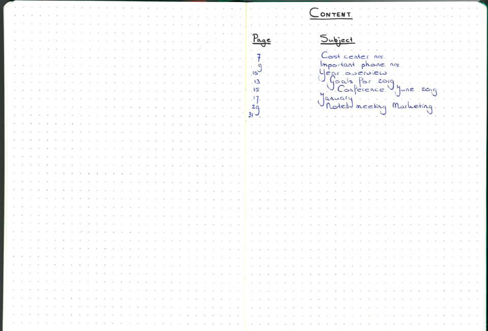 Zakelijk bullet journal